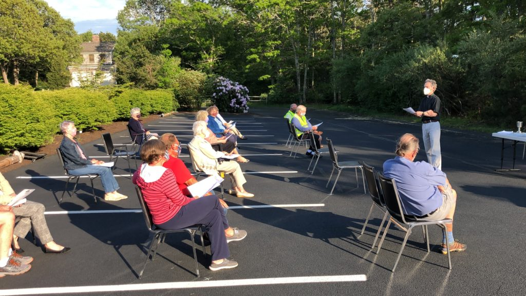 outdoor worship with social distancing at saint peter's